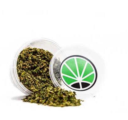 Barattolo con setacciato di marijuana legale Bubblegum