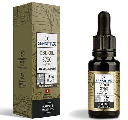Flacone e Confezione Olio di CBD da 15 ml al 25% - Sensitiva