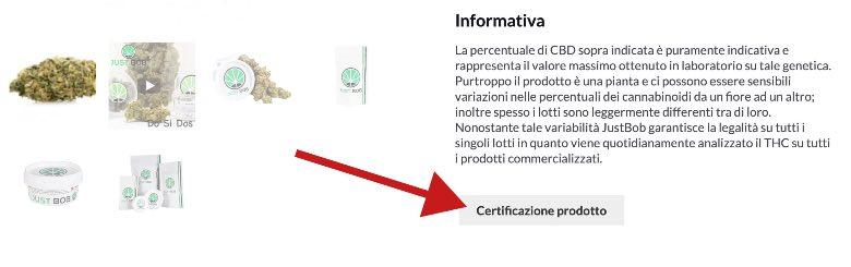 certificazione valori THC su prodotto Justbob