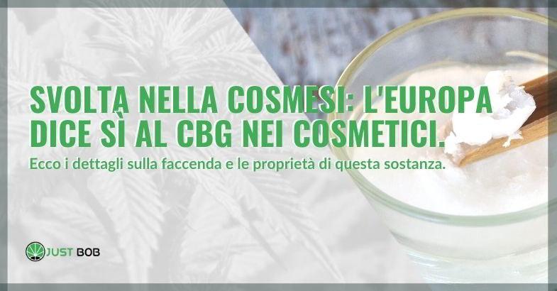 CBG approvato come cosmetico